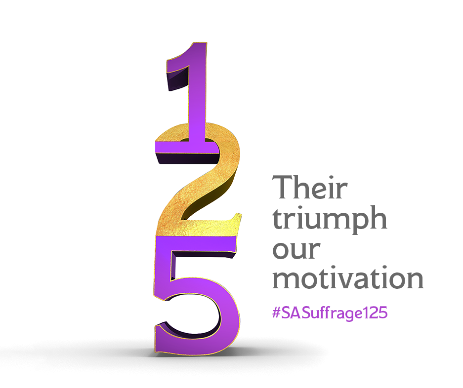 The official logo of the SA suffrage 125 campaign with the slogan 'their triumph our motivation' #SASuffrage125